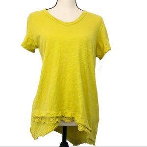 Anthropologie Left of Center Mustard Yellow Top S